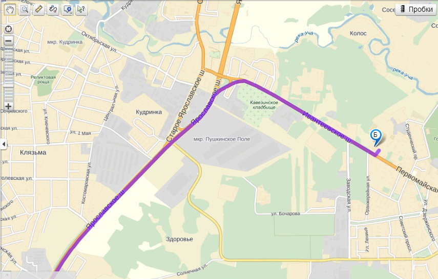 Схема маршрута до ивантеевки 2